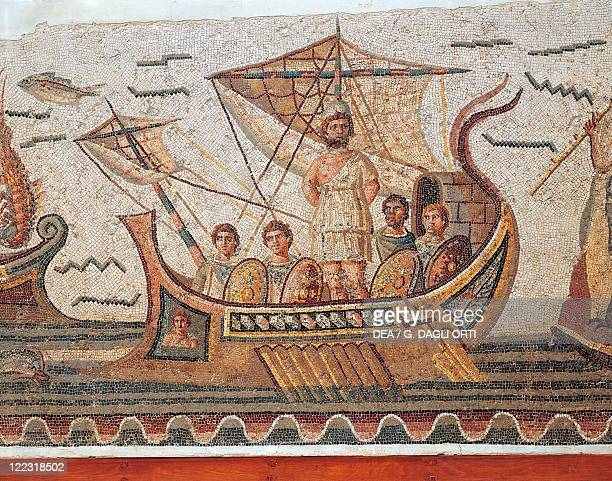 Roman civilization 3rd century AD Mosaic depicting Ulysses and the Sirens' island 260 AD From Thugga Detail Ulysses and his companions on the boat