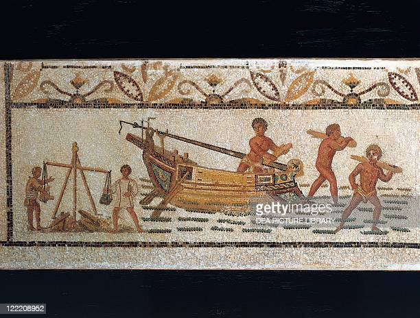 Roman civilization 3rd century AD Mosaic depicting unloading of a ship carrying iron minerals From Hadrumetum Sousse Tunisia
