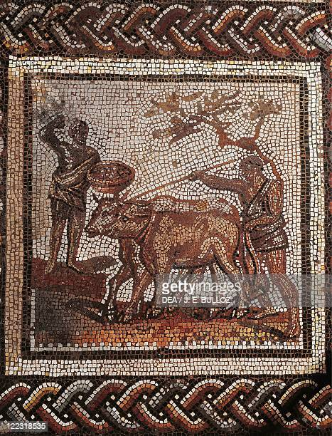 Roman civilization 3rd century AD Mosaic of a rustic calander divided into 32 squares Depicting ploughing From SaintRomainenGal