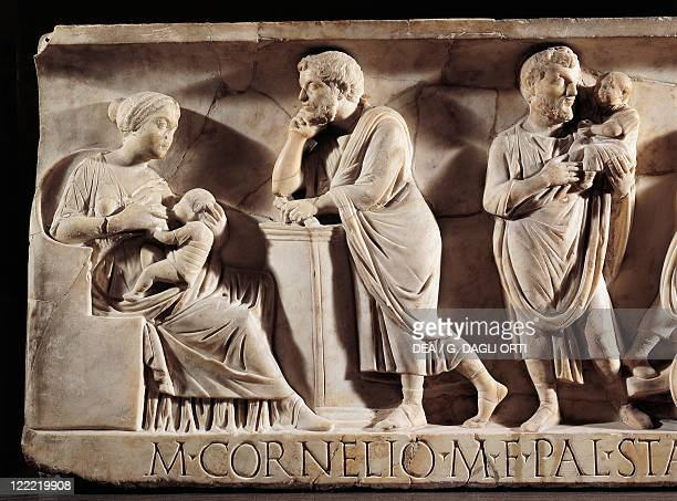 Roman civilization 3rd century AD Sarcophagus of M Cornelius Statius with scenes from his childhood Detail child with his parents