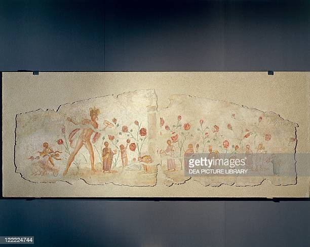 Roman civilization 3rd century AD Scene of the Elysium as a tribute to the deceased child Octavia Paolina Fresco on plaster 79x229 cm From the...