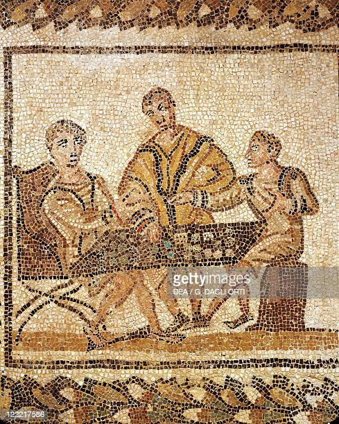 Roman civilization 3rd century Mosaic depicting dice players From El Djem Tunisia