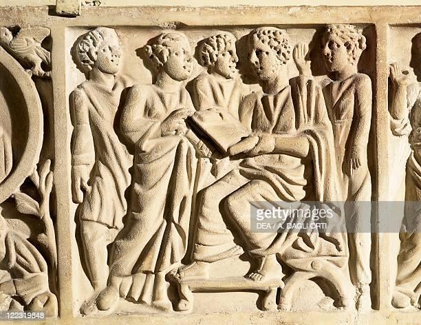 Roman civilization 4th century AD Early Christian civilization Relief from the front piece of a sarcophagus portraying a teacher of rhetoric with a...