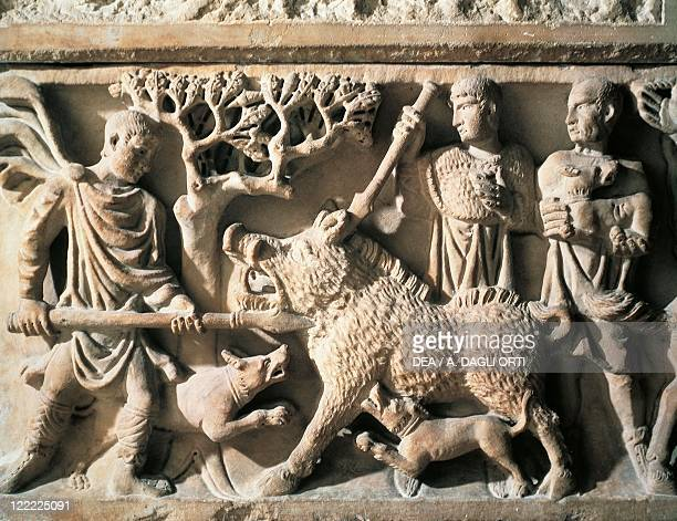 Roman civilization 4th century AD Front side of sarcophagus depicting scene of wild boar hunting