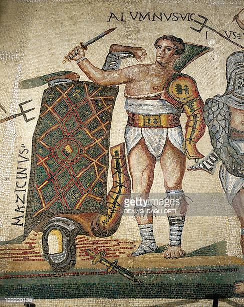 Roman civilization 4th century AD Gladiators fight Mosaic work from Terranova near Tuscolo Detail