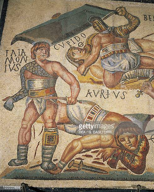 Roman civilization 4th century AD Gladiators fight Mosaic work from Terranova near Tuscolo