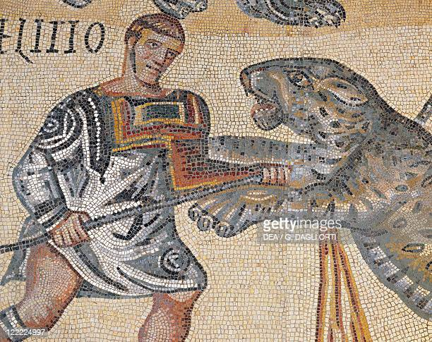 Roman civilization 4th century AD Gladiators fight Mosaic work from Terranova near Tuscolo Detail a gladiator fighting against a tiger