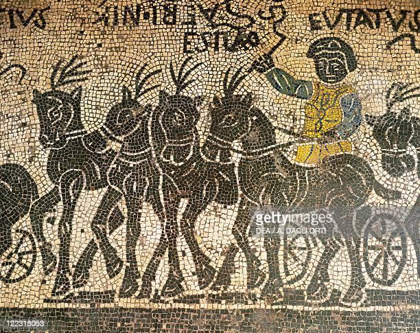Roman civilization 4th century AD Mosaic depicting a quadriga during a circus race Detail
