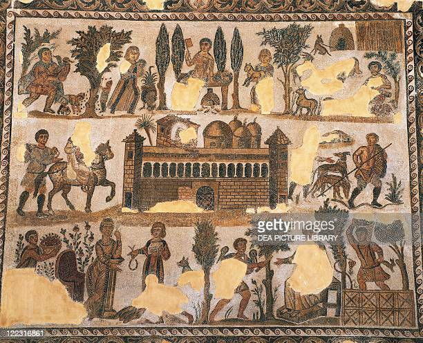 Roman civilization 4th century AD Mosaic depicting everyday life of aristocracy in Africa the estate of the landowner Julius aristocracy From...
