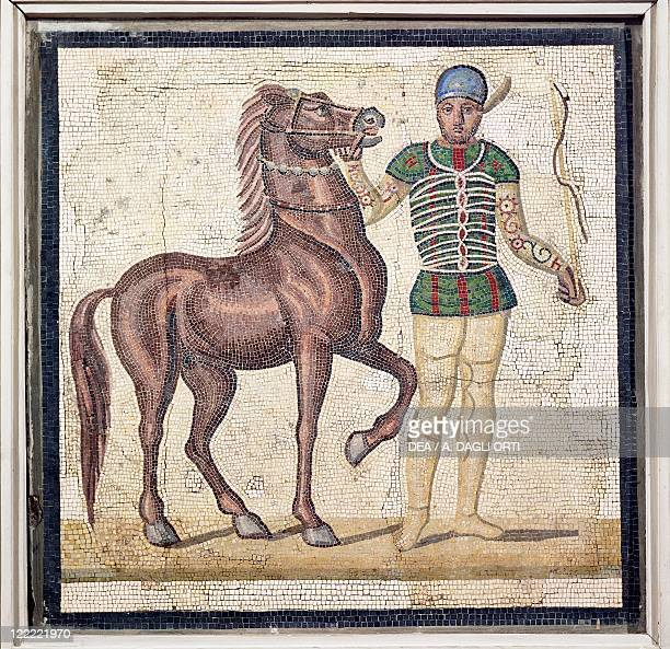 Roman civilization 4th century AD Polychrome mosaic portraying a charioteer in one of the four Circus teams