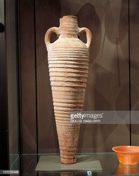 Roman civilization 4th century AD Terracotta amphora for storing wine From Beirut Lebanon