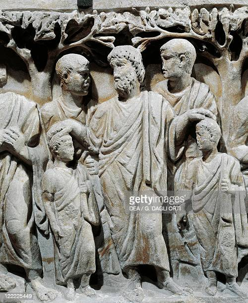 Roman civilization 4th century Marble sarcophagus Relief with scenes from Old and New Testament Detail Noah blessing his sons Sem and Japheth