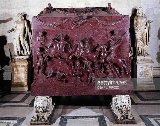 Roman civilization 4th century Porphyry sarcophagus known as Saint Helen or St Helena depicting Roman knights and barbarians Detail