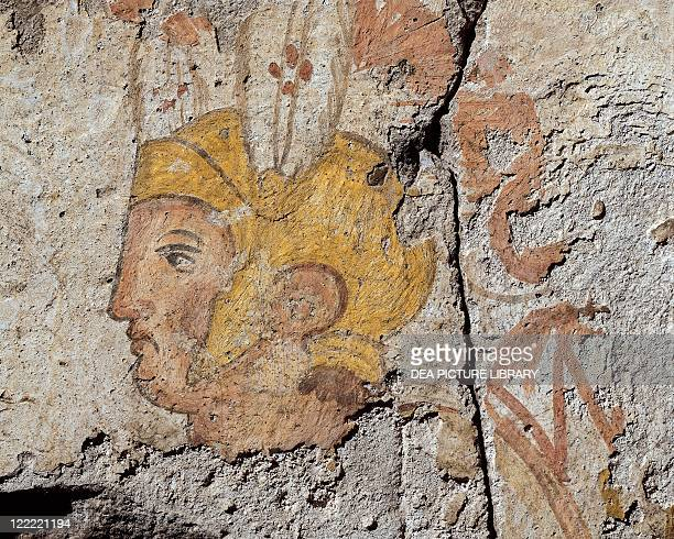 Roman civilization 6th century bC Campanian hoplite standing warrior wearing Greek armour and gilded helmet Painting on block of tuff 118X88 cm Detail