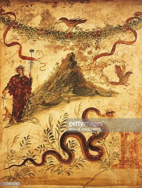 Roman civilization Bacchus and Vesuvius fresco from Pompei