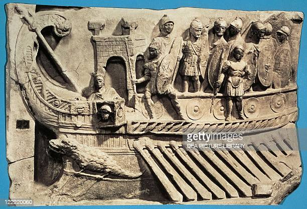 Roman civilization Bireme war ship relief from the Temple of Fortuna Primigenia at Praeneste