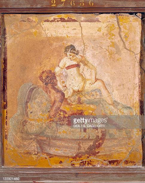 Roman civilization Fresco depicting erotic subject From Pompei Italy