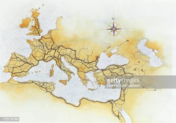 Roman Civilization Map of Ancient Roman roads in the Mediterranean area Artwork
