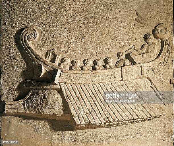 Roman civilization Marble relief portraying a trireme ship From Pozzuoli Naples Province Italy