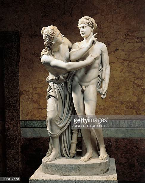 Roman civilization Marble sculpture group portraying Cupid and Psyche