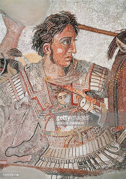 Roman civilization Mosaic depicting the Battle of Issus From Pompei Detail Alexander the Great