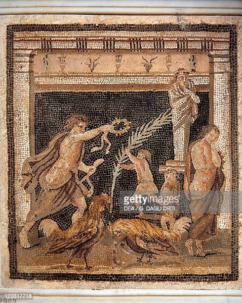 Roman civilization Mosaic depicting worship scene and cockfight