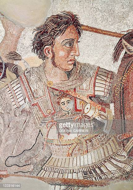 Roman civilization Mosaic known as 'Alexander Mosaic' and depicting the battle of Issus 333 bC between the armies of Alexander the Great and Darius...