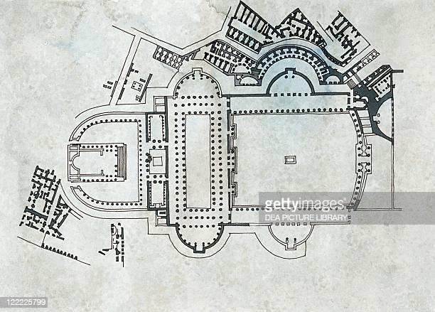 Roman Civilization Plan of the Trajan's Forum in Rome Drawing