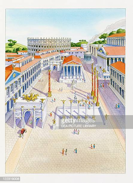 Roman civilization Reconstructed Imperial Fora Color illustration