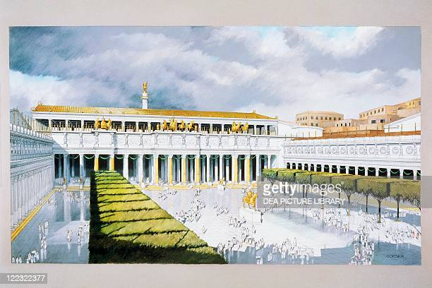 Roman Civilization Reconstruction of the piazza of the Trajan's Forum Rome Color illustration