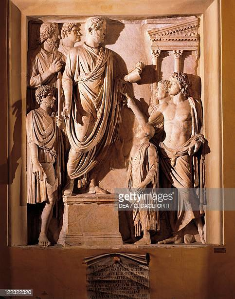 Roman civilization Relief from the Arch of Portugal along via Lata Detail the Emperor Hadrian delivering funeral oration for his wife Sabina