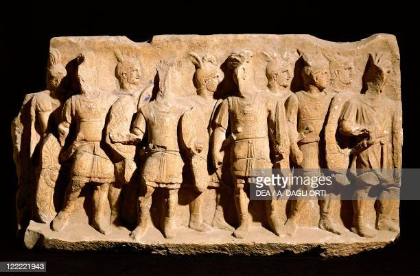 Roman civilization Relief portraying a legionnaire in typical armour of the order From Cuma Campania Region Italy
