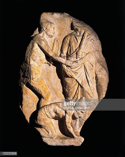 Roman civilization Relief portraying a slave being freed