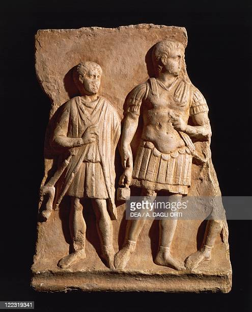 Roman civilization Relief with centurion and soldier From Turin Italy