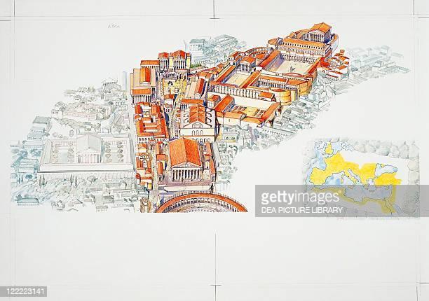 Roman civilization Roman Forum and imperial map Color illustration
