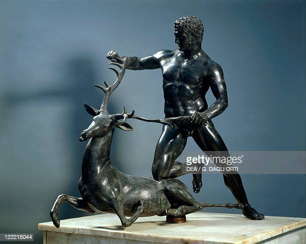 Roman civilization Statue of athlete struggling with a deer Roman copy of bronze original by Lysippos 1st century bC which adorned a fountain in...