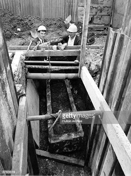 Roman coffin discovered during drain digging operations at Lefevre Road in Bow London