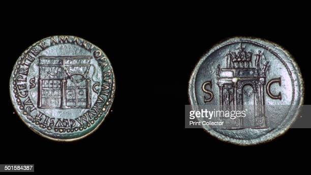 Roman coins of Nero showing on the left the temple of Janus with closed doors as a symbol of peace On the right is the Arch of Nero built to...