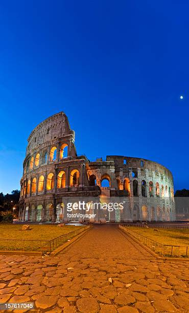roman coliseum ancient amphitheatre iconic landmark vertical panorama rome italy - colosseum stock pictures, royalty-free photos & images