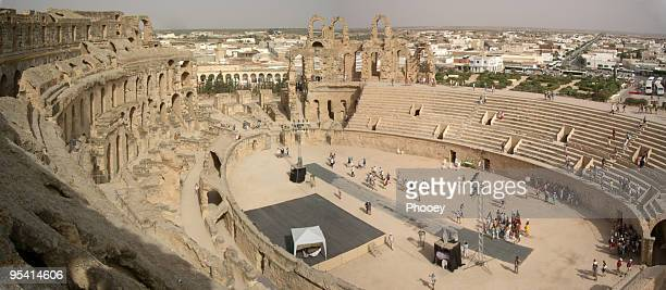 roman colosseum in el djem - inside the roman colosseum stock photos and pictures