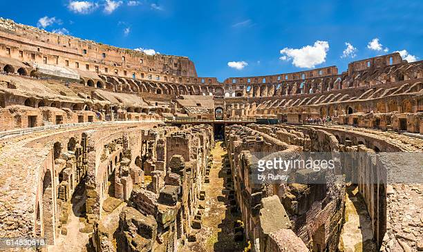 roman colosseum panorama - colosseum stock pictures, royalty-free photos & images