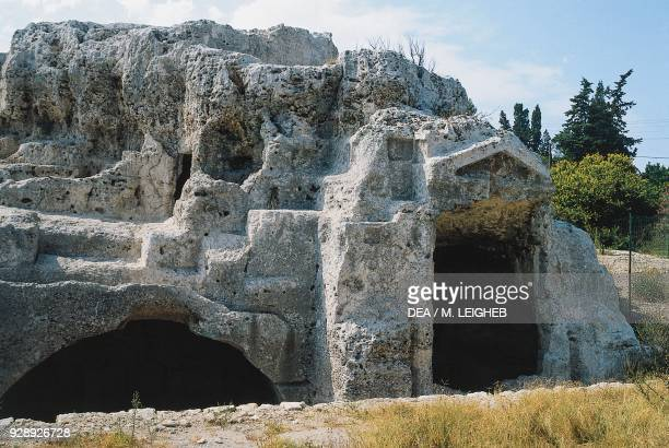 Roman columbarium, known as Archimedes' Tomb, Grotticelle necropolis, Archaeological Park of Neapolis, Siracusa, Sicily, Italy. Roman civilization,...