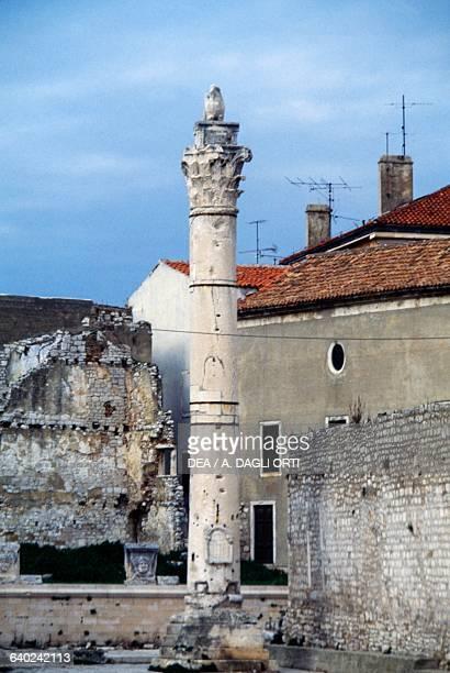 Roman column in the ancient Forum Zadar Croatia Roman civilisation