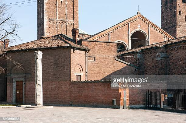 Roman column known as the Devil's column square on the left of the Basilica of Sant'Ambrogio Milan Lombardy Italy Roman civilisation 4th century AD