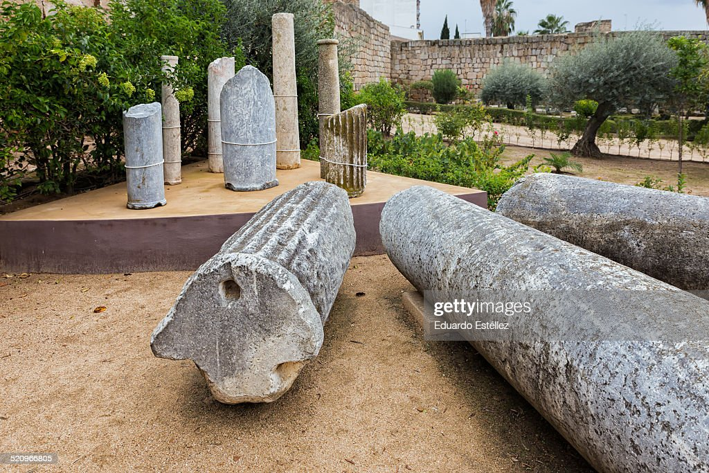 Roman columns in the Alcazaba, Emerita Augusta : Stock Photo