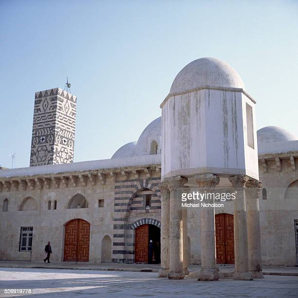 Roman columns support an isolated chamber in a courtyard at the Grand Mosque in Hama western Syria