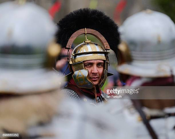 Roman Commander speaks to his men ahead of a battle as the lives of Roman Legionnaires are reenacted during the Hadrian's Wall Live event at...