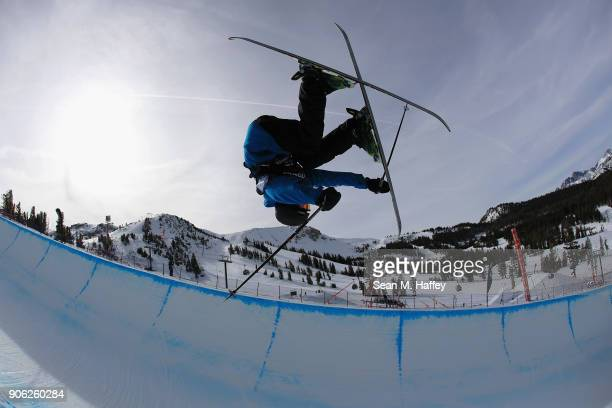 Roman Egorov of Russia trains prior to the qualifying round of the Men's Ski Halfpipe during the Toyota US Grand Prix on on January 17 2018 in...