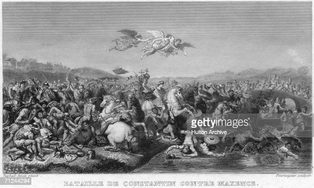 Roman Emperor Constantine the Great defeats his rival Maxentius at the Milvian Bridge over the Tiber in Rome 28th October 312 AD An engraving by...