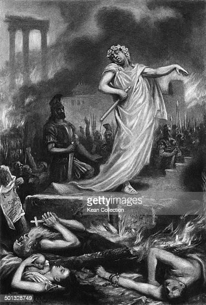 Roman Emperor Nero stands amid the ruins of Rome as it burns July 64 AD From an original painting by SJ Ferris